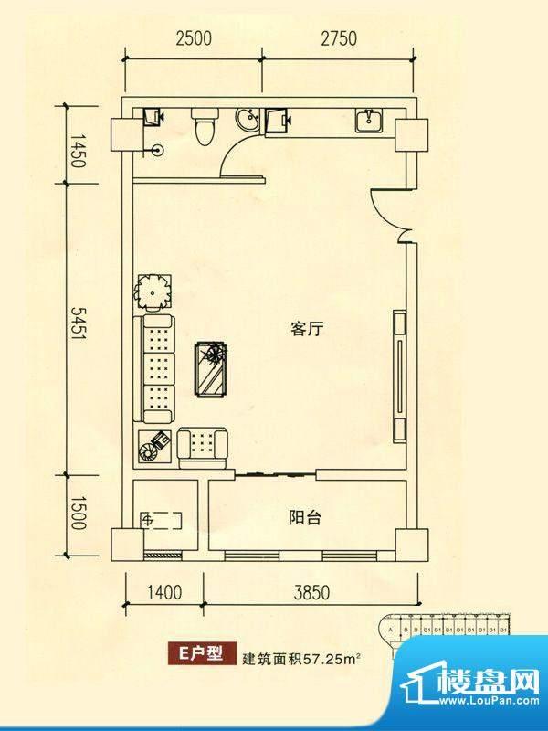 华银国际户型图E户型 1室1厅1卫面积:57.25平米