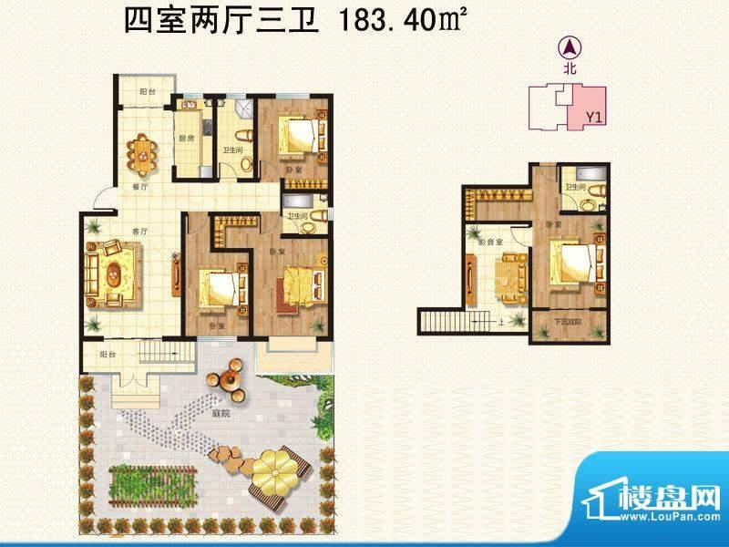 阳光里户型图y1底跃 4室2厅3卫面积:183.40平米
