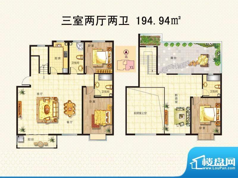 阳光里户型图y1顶跃 3室2厅2卫面积:194.94平米
