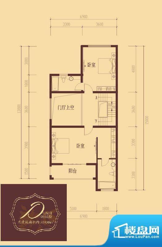 香醍溪岸户型图D户型二层 2室1面积:74.48平米