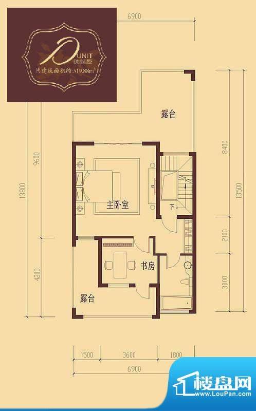 香醍溪岸户型图D户型三层 2室1面积:52.25平米