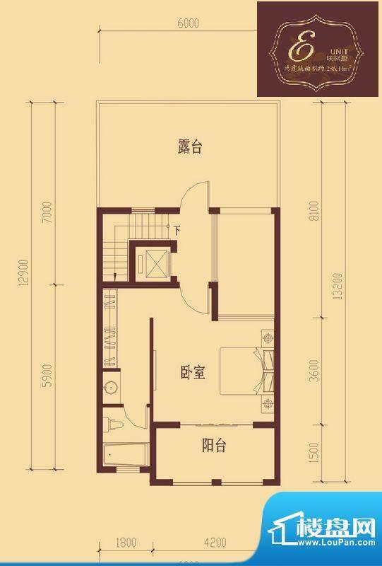 香醍溪岸户型图E户型三层 1室1面积:43.39平米