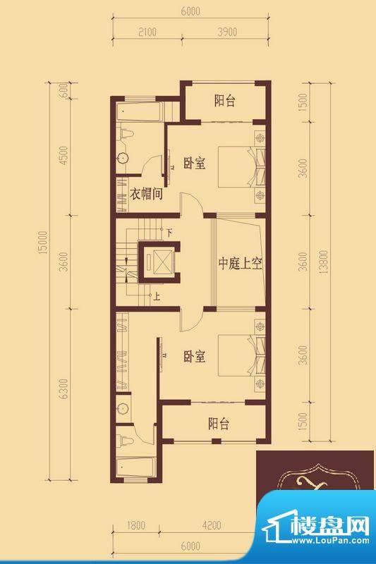 香醍溪岸户型图F户型二层 2室1面积:72.55平米