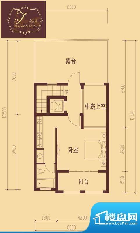 香醍溪岸户型图F户型三层 1室1面积:43.12平米