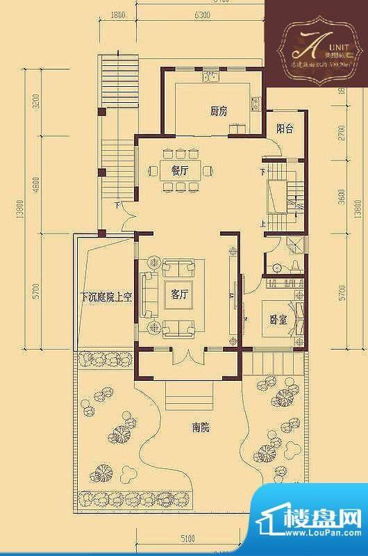 香醍溪岸户型图A户型首层 1室1面积:116.40平米