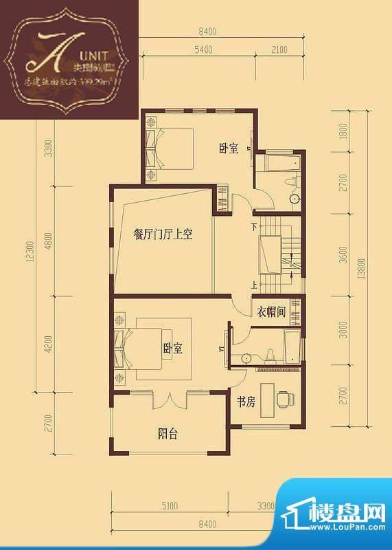 香醍溪岸户型图A户型二层 3室1面积:91.24平米