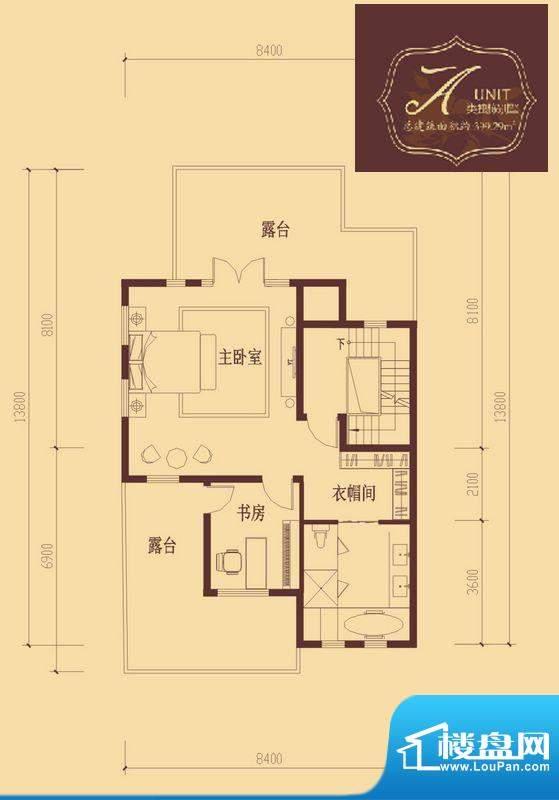香醍溪岸户型图A户型三层 2室1面积:71.05平米