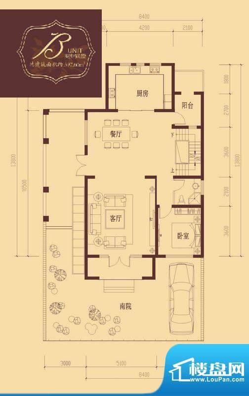 香醍溪岸户型图B户型首层 2室1面积:121.85平米