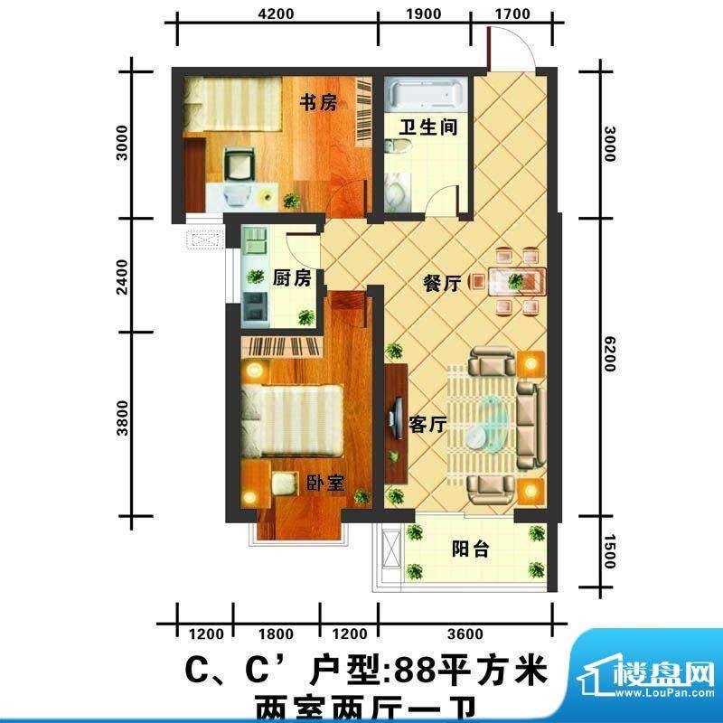 信通公寓户型图C户型 2室2厅1卫面积:88.00平米
