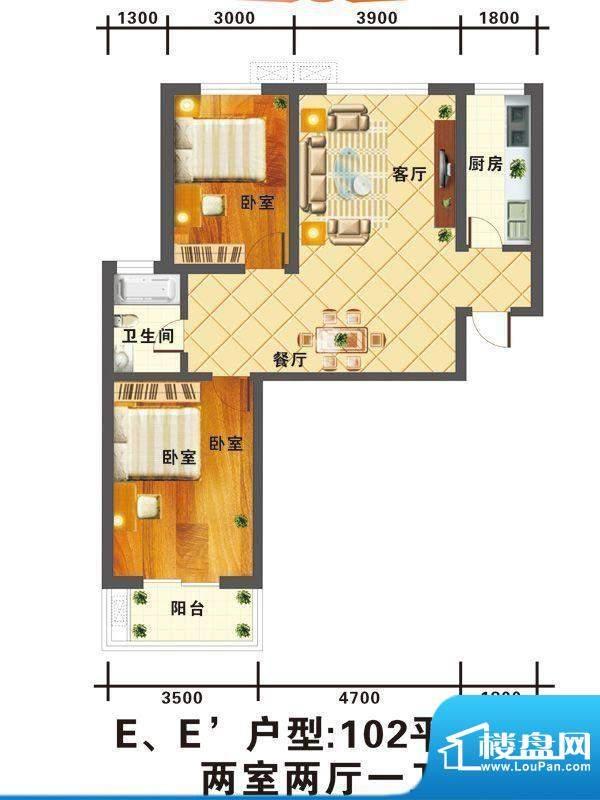 信通公寓户型图E户型 2室2厅1卫面积:102.00平米