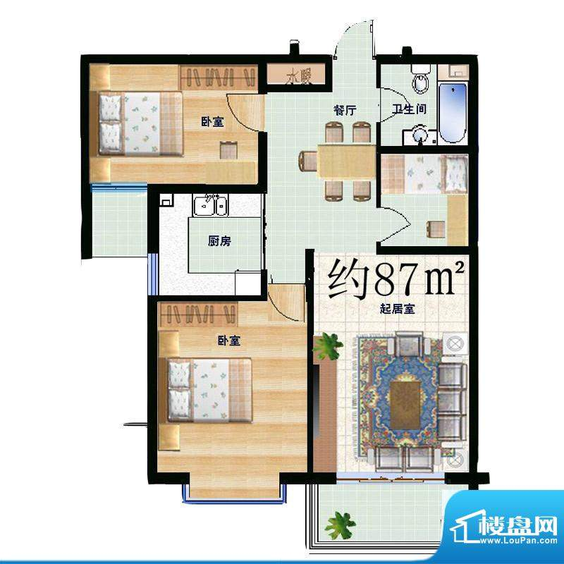 信通公寓户型图3室2厅1卫87㎡ 面积:87.00平米