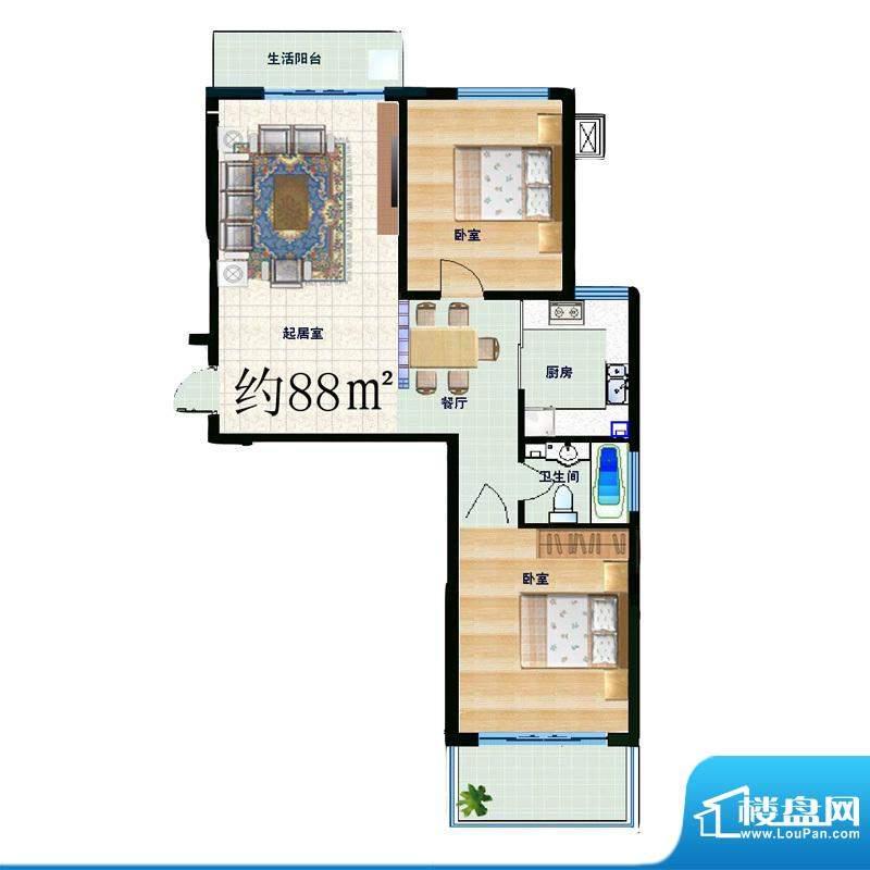信通公寓户型图2室2厅1卫88㎡ 面积:88.00平米
