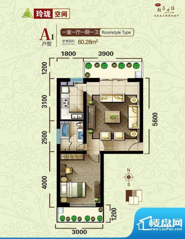 拉菲小镇户型图A户型 1室1厅1卫面积:60.28平米