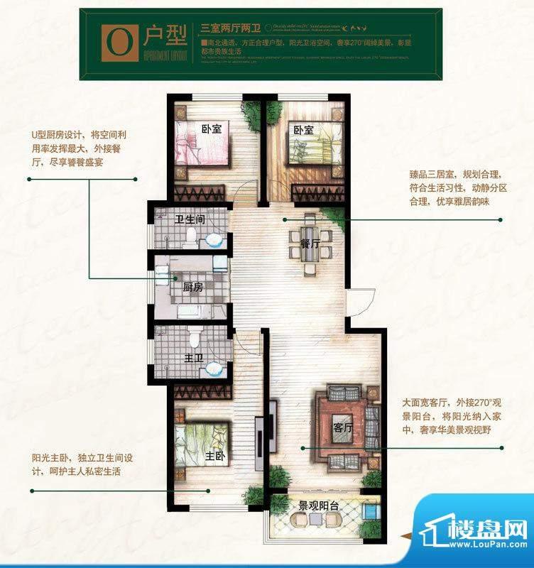 奥北公元户型图O户型 3室2厅2卫面积:127.61平米
