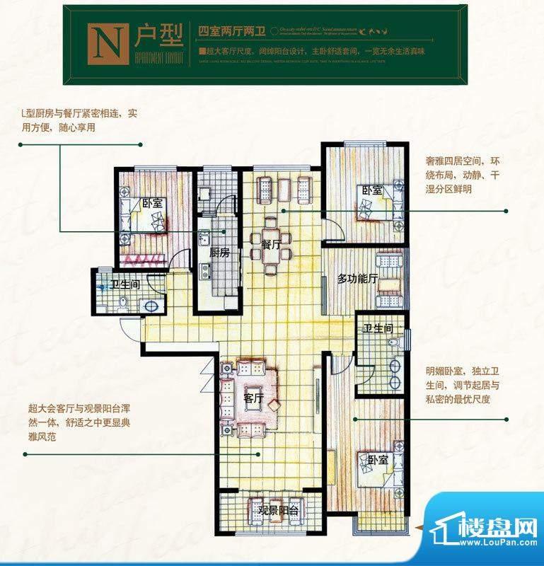 奥北公元户型图N户型 4室2厅2卫面积:168.10平米