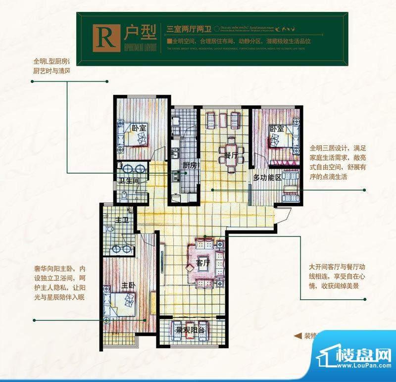 奥北公元户型图R户型 3室2厅2卫面积:154.89平米
