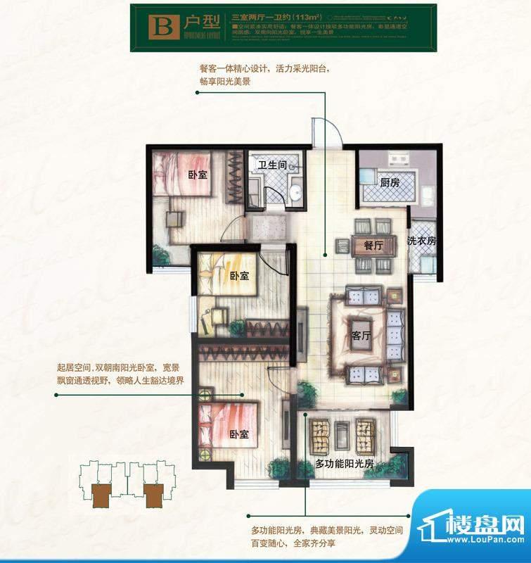 奥北公元户型图B户型 3室2厅1卫面积:113.00平米