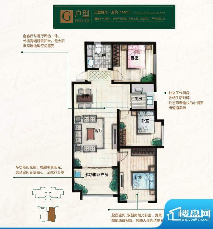 奥北公元户型图G户型 3室2厅1卫面积:114.00平米