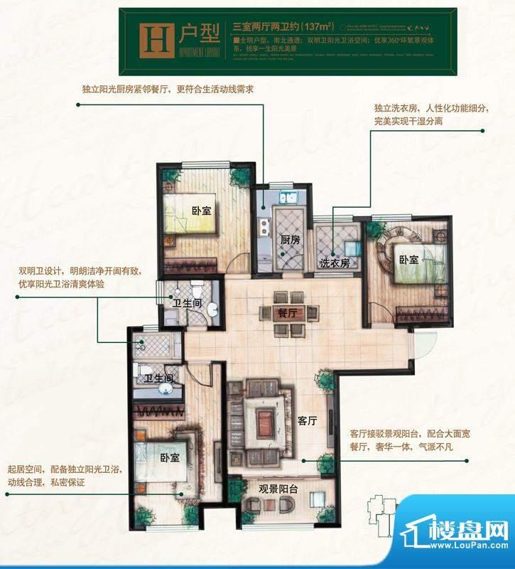 奥北公元户型图H户型 3室2厅2卫面积:137.00平米