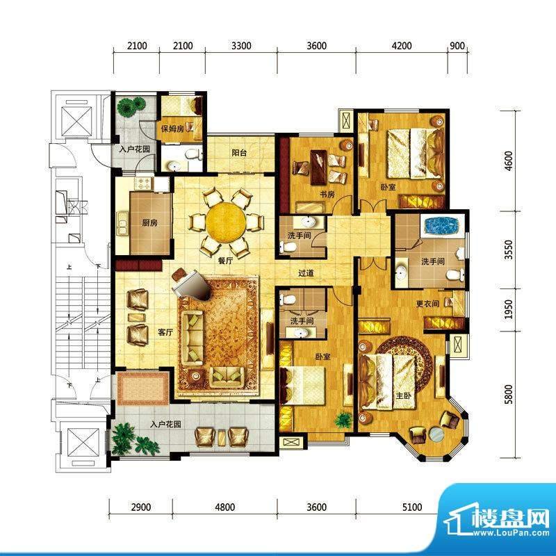 国仕山户型图4号楼--B户型 5室面积:262.50平米