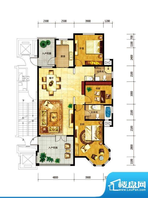 国仕山户型图5号楼-E户型 3室2面积:178.00平米