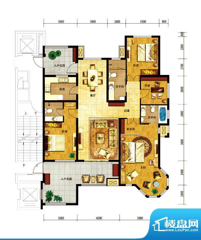 国仕山户型图12号楼-D户型 4室面积:188.00平米