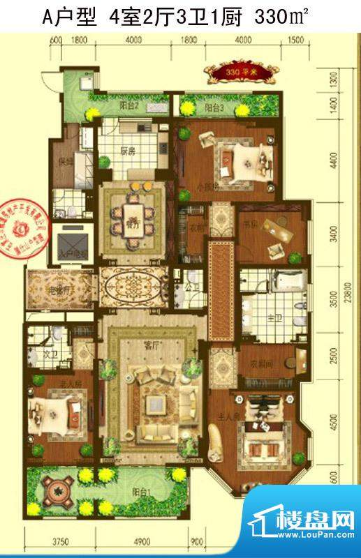 国仕山户型图330㎡A户型 4室2厅面积:330.00平米