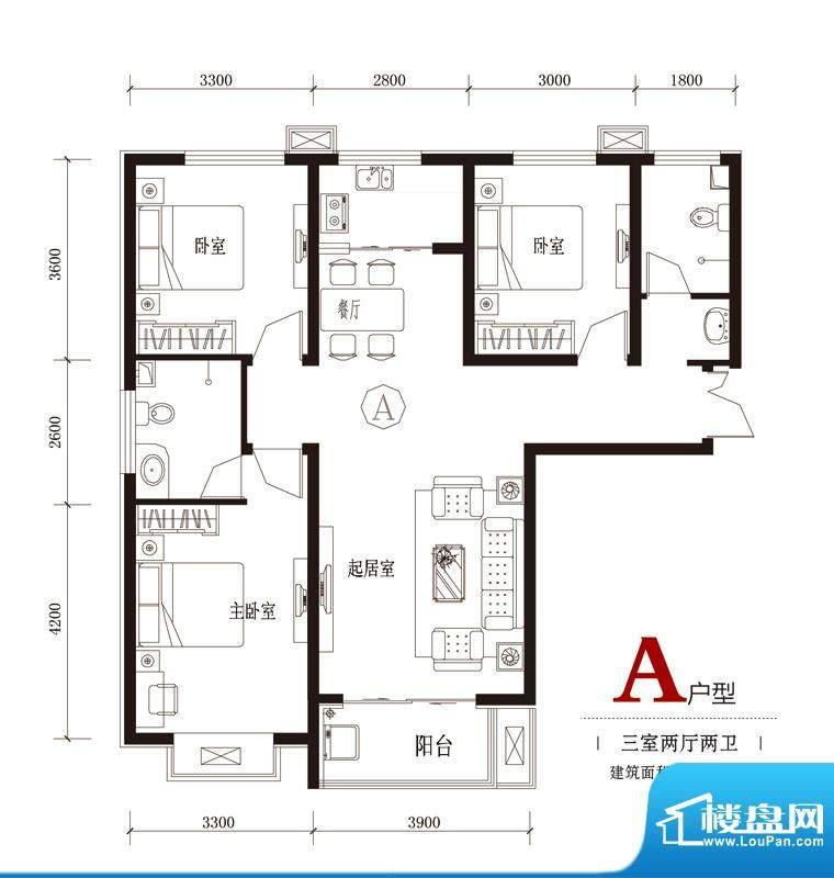 国风户型图7#A户型 3室2厅2卫1面积:118.05平米