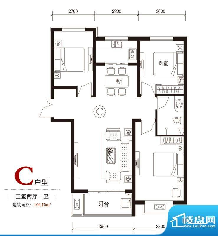 国风户型图7#C户型 3室2厅1卫面积:106.15平米