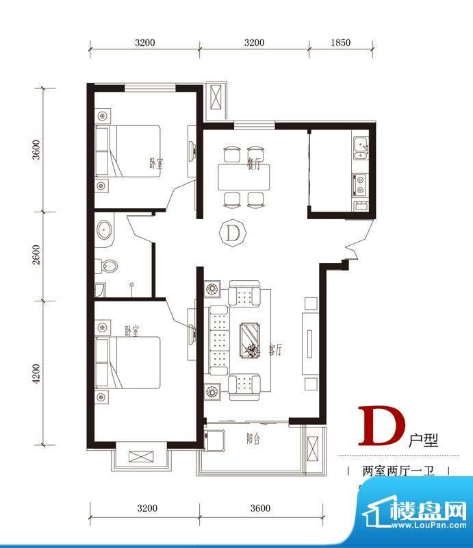 国风户型图7#D户型 2室2厅1卫1面积:91.04平米