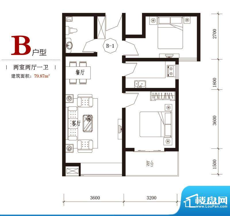 国风户型图7#B户型 2室2厅1卫1面积:79.87平米