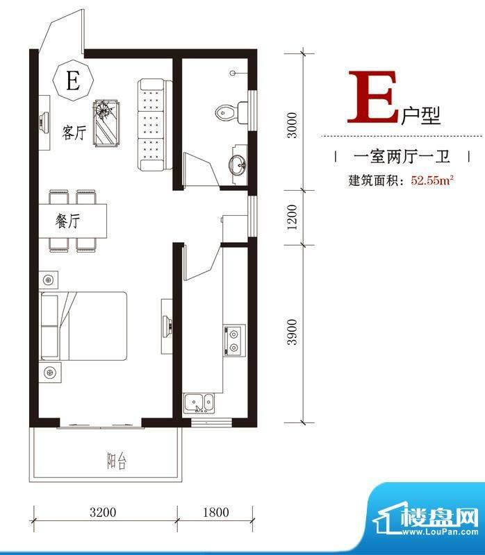 国风户型图7#E户型 1室2厅1卫1面积:52.55平米