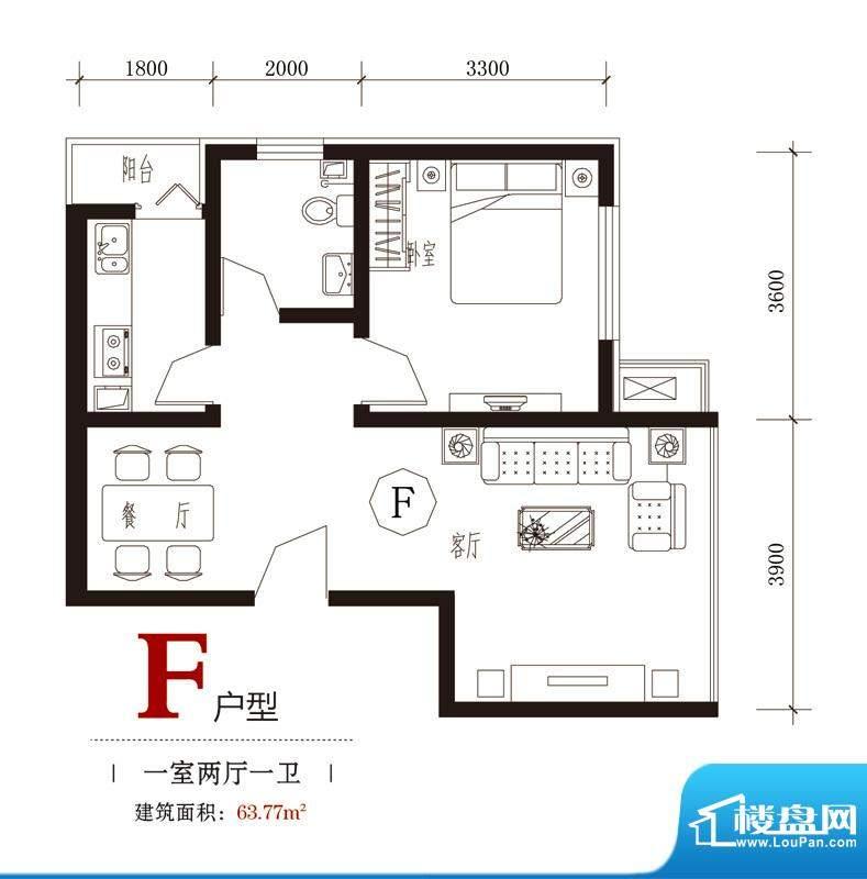 国风户型图7#F户型 1室2厅1卫1面积:63.77平米