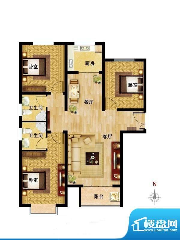 国风户型图02户型 3室2厅2卫1厨面积:120.80平米