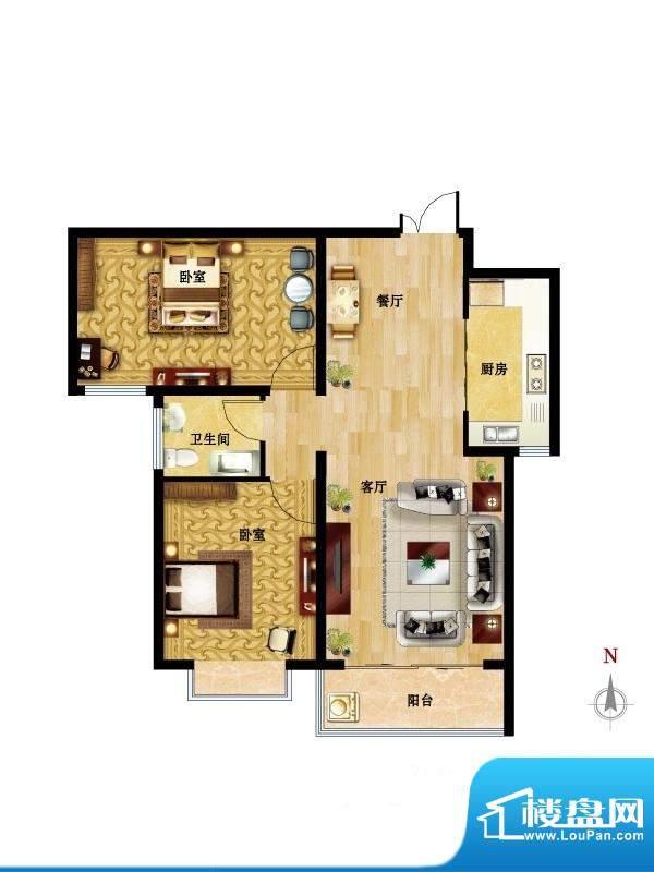 国风户型图04户型 2室2厅1卫1厨面积:92.90平米
