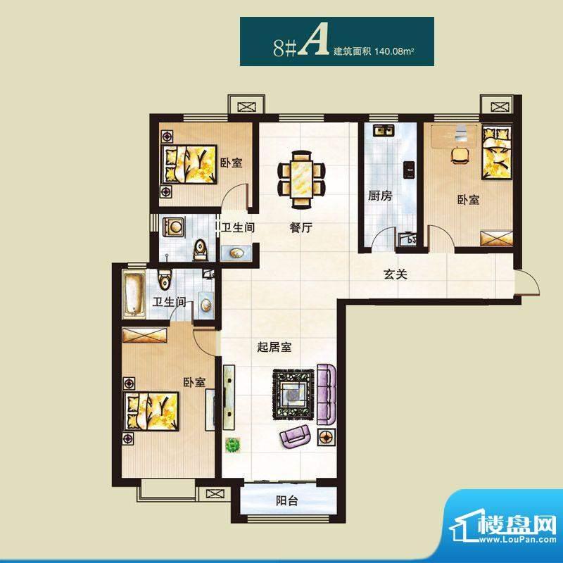 弘石湾户型图8#A户型 3室2厅2卫面积:140.08平米