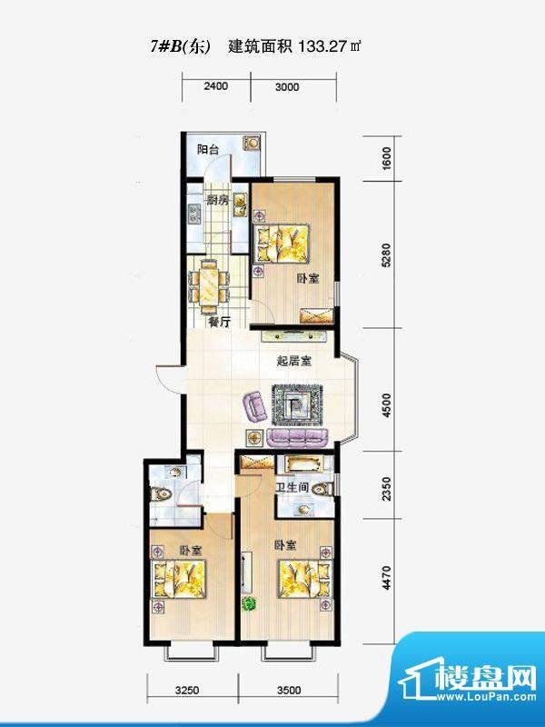 弘石湾户型图7#B东户型 3室2厅面积:133.27平米