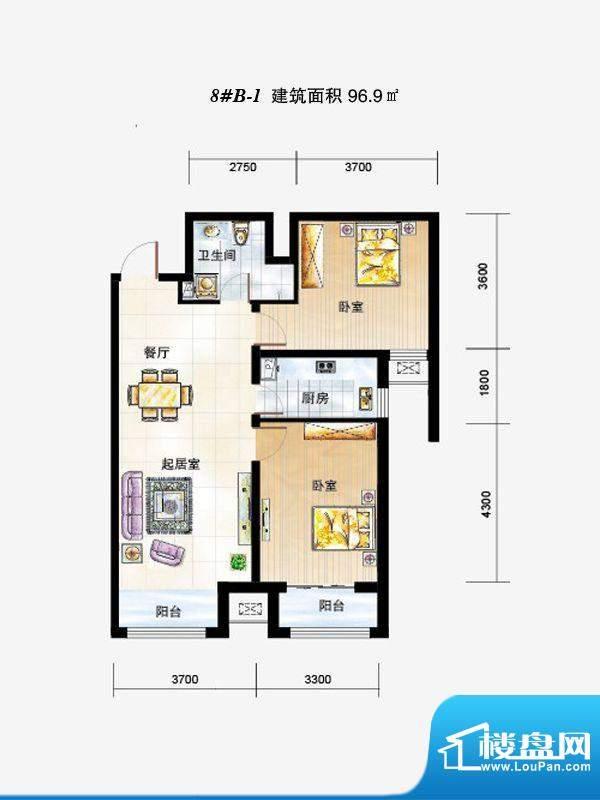弘石湾户型图8#B-1户型 2室2厅面积:96.90平米