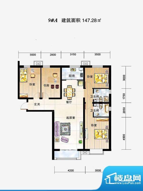 弘石湾户型图9#A户型 4室2厅2卫面积:147.28平米