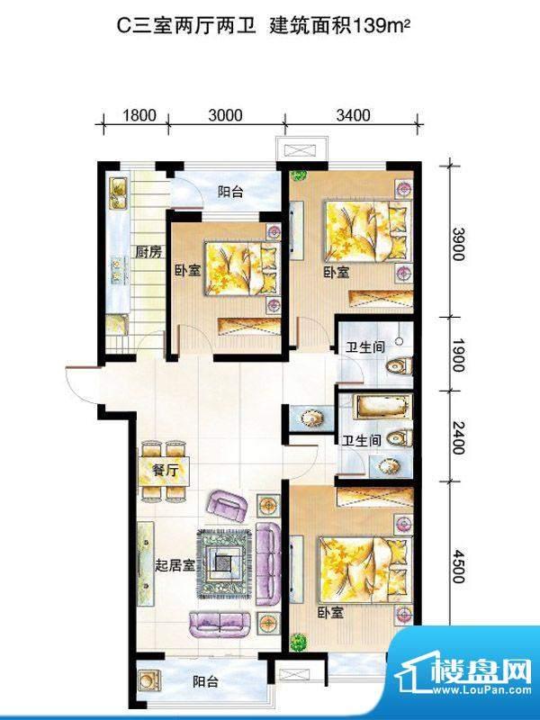 弘石湾户型图3#C户型 3室2厅1卫面积:139.00平米