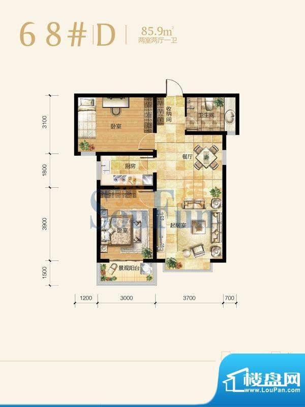 雍和慢城户型图68#-D户型 2室2面积:85.90平米