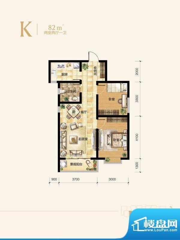 雍和慢城户型图1#-02户型 2室2面积:82.00平米