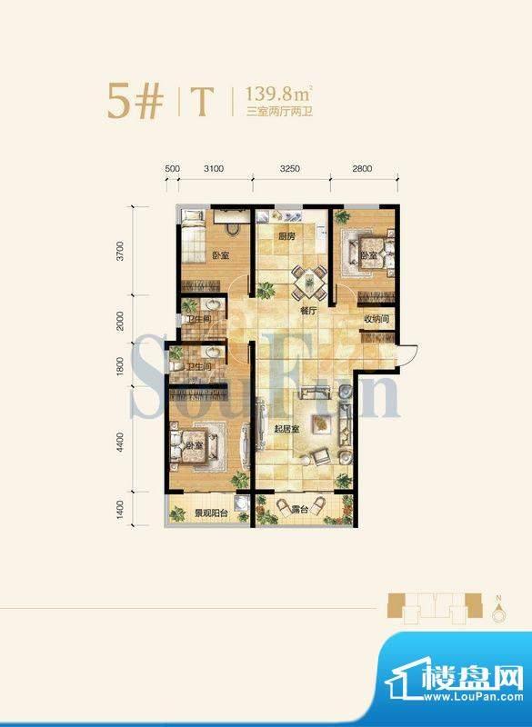 雍和慢城户型图5#-03户型 3室2面积:139.80平米