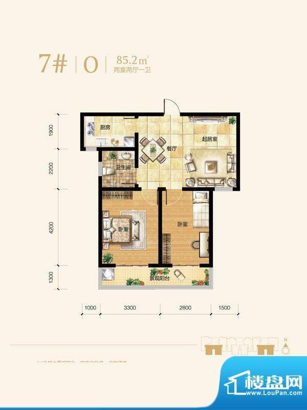 雍和慢城户型图7#1-02户型 2室面积:85.20平米
