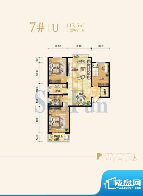 雍和慢城户型图7#-01户型 3室2面积:113.50平米