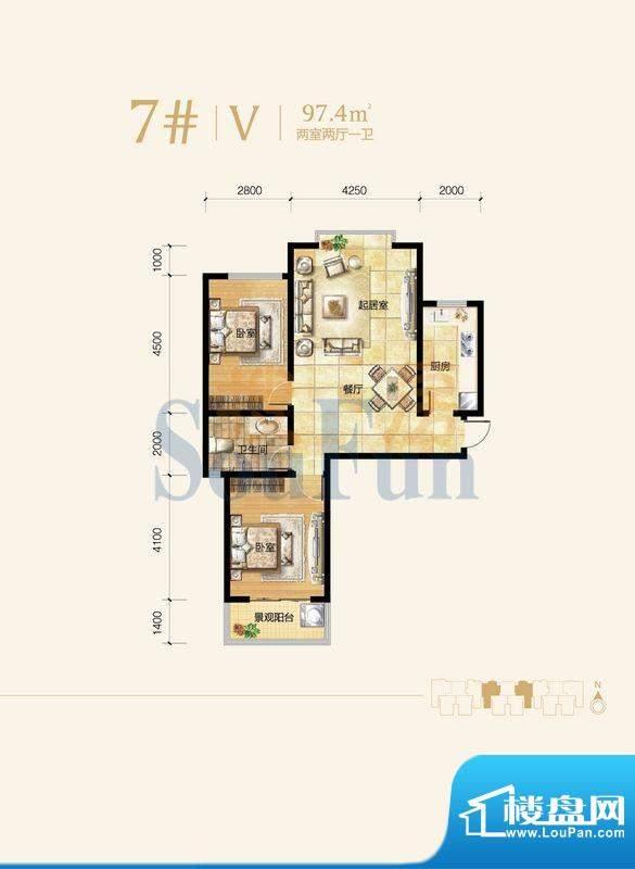 雍和慢城户型图7#-02户型 2室2面积:97.40平米