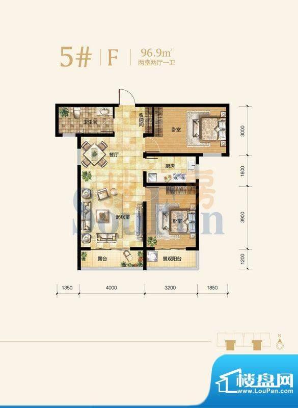 雍和慢城户型图5#-02户型 2室2面积:96.90平米