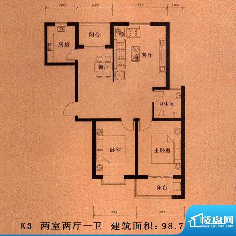 新大院户型图K3户型 2室2厅1卫面积:98.76平米