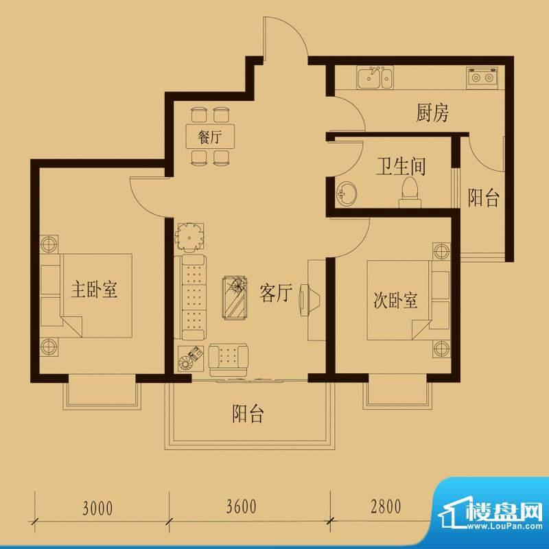 新大院户型图2#楼-E3 2室2厅1卫面积:81.29平米