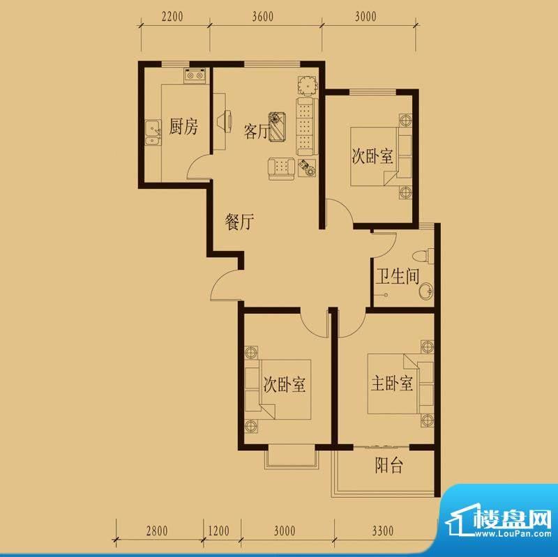 新大院户型图2#楼-E2 3室2厅1卫面积:109.44平米
